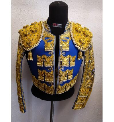 Traje de torero azul rey y oro
